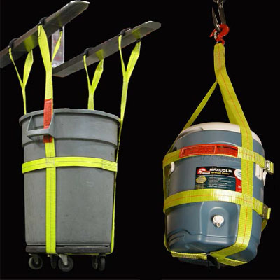 a bucket and cooler being lifted with our bucket and cooler specialty slings and straps