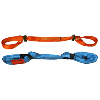 an orange and blue pipe & hose halter