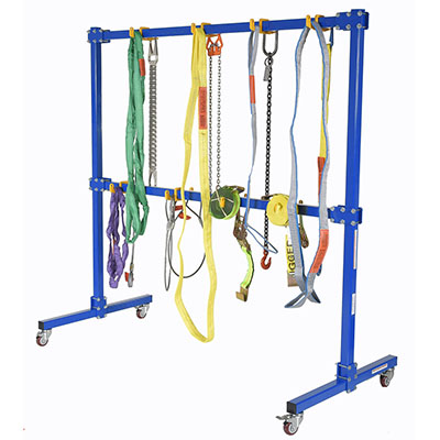 sling rack with lifting accessories hanging